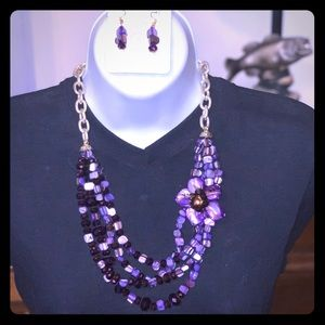 Purple Beaded Necklace with Matching Earrings